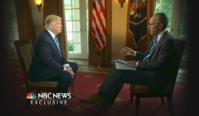 In this image provided by NBC News, President Donald Trump is interviewed by NBC's Lester Holt, Thursday, May 11, 2017. Trump insisted Thursday during the interview that there was no collusion between his winning campaign and the Russian government in his first extended remarks since he roiled Washington with his decision to fire FBI Director James Comey. (Joe Gabriel/NBC News via AP)