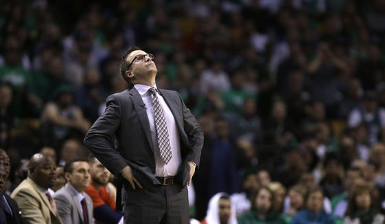 Washington Wizards head coach Scott Brooks during the second quarter of a second-round NBA playoff series basketball game in Boston, Wednesday, May 10, 2017. (AP Photo/Charles Krupa)