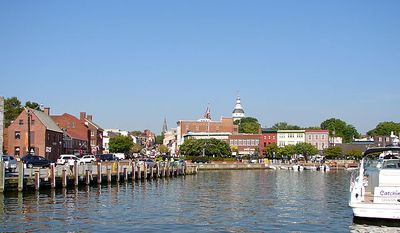 Annapolis, Md., seen here from the City Dock. By Smallbones (Own work) [Public domain], via Wikimedia Commons [https://commons.wikimedia.org/wiki/File:Dock_Street_Annapolis.JPG]