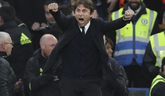 Chelsea's manager Antonio Conte celebrates after Chelsea's Marcos Alonso scores a goal during the English Premier League soccer match between Chelsea and Middlesbrough at Stamford Bridge stadium in London, Monday, May 8, 2017. (AP Photo/Alastair Grant)