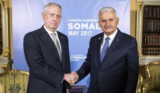 Turkey's Prime Minister Binali Yildirim, right, shakes hands with U.S. Secretary of Defense James Mattis, ahead of the Somalia Conference, in London, Thursday, May 11, 2017. (Prime Minister's Press Service, Pool Photo via AP)