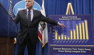California Gov. Jerry Brown gestures to a chart showing the increase spending for school funding while discussing his revised $124 billion state budget plan, Thursday, May 11, 2017, in Sacramento, Calif. (AP Photo/Rich Pedroncelli)