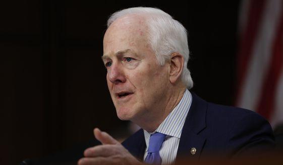 In this March 21, 2017 file photo, Senate Majority Whip John Cornyn of Texas speaks on Capitol Hill in Washington. (AP Photo/Pablo Martinez Monsivais, File)