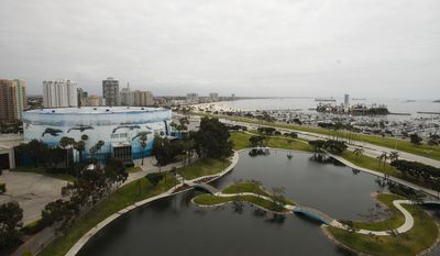 The Long Beach Arena, left, one of the Los Angeles 2024's proposed venues for Olympic games, is photographed, Wednesday, May 10, 2017, in Long Beach, Calif. Los Angeles Olympic organizers are putting their plans on display at a time of uncertainty in the race for the 2024 Games. Members of the International Olympic Committee are in Southern California this week to inspect stadiums and arenas that could become future Olympic Games venues. (AP Photo/Jae C. Hong)