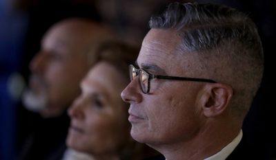 Former New Jersey Gov. Jim McGreevey looks on before the start of a Democratic gubernatorial primary debate, Thursday, May 11, 2017, in Newark, N.J. (AP Photo/Julio Cortez, Pool)