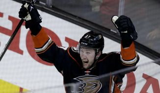 Anaheim Ducks left wing Nick Ritchie celebrates after scoring during the third period in Game 7 of a second-round NHL hockey Stanley Cup playoff series against the Edmonton Oilers in Anaheim, Calif., Wednesday, May 10, 2017. (AP Photo/Chris Carlson)