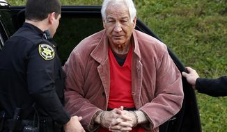 FILE - In this Oct. 29, 2015, file photo, former Penn State University assistant football coach Jerry Sandusky arrives for an appeal hearing at the Centre County Courthouse in Bellefonte, Pa. A judge heard more testimony Thursday, May 11, 2017, in Sandusky's appeal of his 45-count conviction for child sexual abuse, as Sandusky argues his former defense lawyers didn't properly represent him in the 2012 trial. (AP Photo/Gene J. Puskar, File)