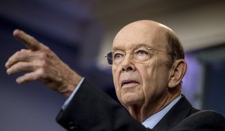 Commerce Secretary Wilbur Ross takes a question during the daily press briefing at the White House in Washington, in this April 25, 2017, file photo. (AP Photo/Andrew Harnik, File)