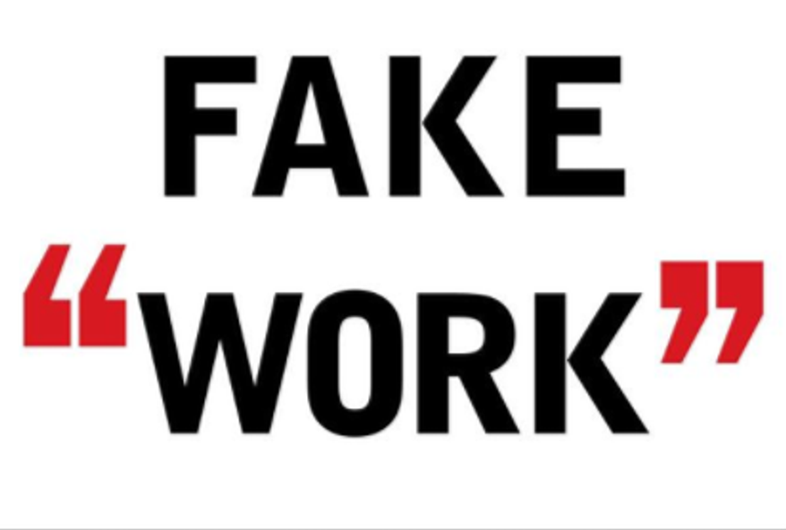"""Book jacket """"Fake Work: Why people are working harder than ever but accomplishing less, and how to fix the problem,"""" by authors B.D. Peterson and G.W. Nielson"""