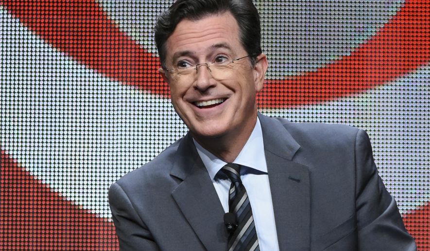 "In this Aug. 10, 2015 file photo, Stephen Colbert participates in the ""The Late Show with Stephen Colbert"" segment of the CBS Summer TCA Tour in Beverly Hills, Calif. (Photo by Richard Shotwell/Invision/AP, File)"