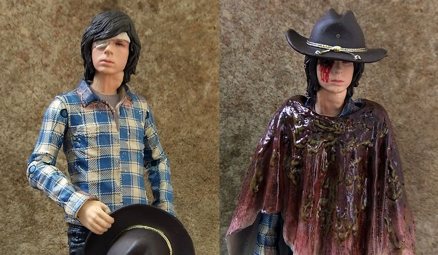 Two views of McFarlane Toys' Blue Wave, Color Tops Carl Grimes figure. (Photograph by Joseph Szadkowski / The Washington Times)
