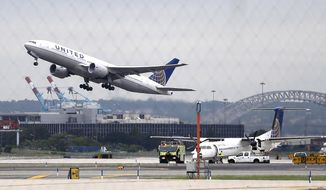 FILE - In this July 25, 2013, file photo, a United Airlines plane takes off from Newark Liberty International Airport, in Newark, N.J. United Airlines told KHOU-TV in Houston that a flight from Houston to Ecuador was delayed on May 11, 2017, after a scorpion was reported aboard the plane. (AP Photo/Julio Cortez, File)