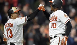 Baltimore Orioles' Adam Jones (1) celebrates his home run with Manny Machado (13) during the eighth inning of an interleague baseball game against the Washington Nationals, Tuesday, May 9, 2017, in Baltimore. The Orioles won 5-4 in 12 innings. (AP Photo/Nick Wass)