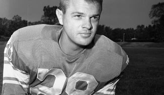 FILE - This is a June 30, 1964, file photo showing Detroit Lions football player Yale Lary. Lary, a Hall of Fame safety who helped the Detroit Lions win three NFL titles during the 1950s, has died. He was 86. The Pro Football Hall of Fame confirmed his death, citing information from the nine-time Pro Bowler's family. The Lions say Lary died Friday, May 12, 2017, at his home in Fort Worth, Texas. (AP Photo/File)