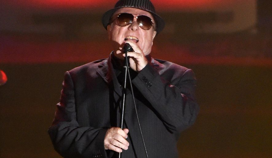 FILE - In this June 18, 2015 file photo, Van Morrison performs at the 46th Annual Songwriters Hall of Fame Induction and Awards Gala in New York. The Americana Music Association announced, Friday, May 12, 2017, that they will be giving a lifetime achievement award to Van Morrison. (Photo by Evan Agostini/Invision/AP, File)