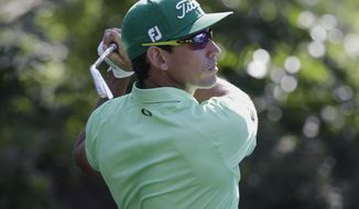Rafa Cabrera Bello, of Spain, hits from the 13th tee during the second round of The Players Championship golf tournament Friday, May 12, 2017, in Ponte Vedra Beach, Fla. (AP Photo/Lynne Sladky)
