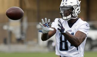Tennessee Titans wide receiver Corey Davis runs a drill during NFL football rookie camp Friday, May 12, 2017, in Nashville, Tenn. (AP Photo/Mark Humphrey)