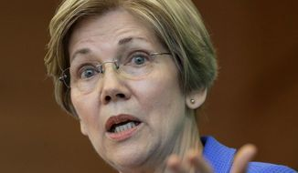"""""""It is time to resist, it is time to fight back, and it is time to make clear what we believe in,"""" said Sen. Elizabeth Warren, a Massachusetts Democrat whom many progressives are pushing to run against President Trump in 2020. (Associated Press/File)"""
