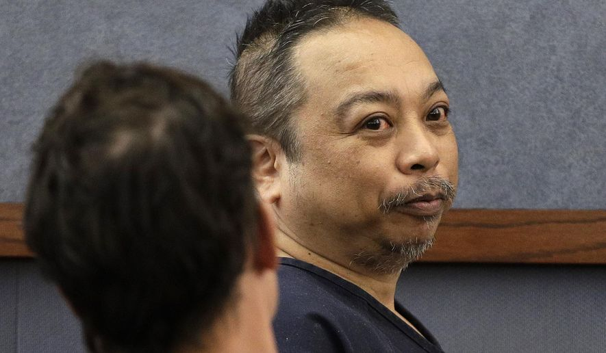 FILE-  In this March 29, 2017, file photo Rolando Cardenas makes an initial court appearance in Las Vegas, Nev. Cardenas was found mentally unfit to face criminal charges Friday, May 12, 2017, in the killing of a tourist from Montana and the wounding of another man in a shooting on a double-decker bus on the Las Vegas Strip. (AP Photo/John Locher, File)