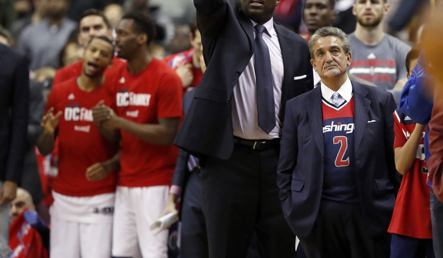 Washington Wizards owner Ted Leonsis, right, stands court side in the second half of game 6 of the Eastern Conference semifinal NBA basketball playoff series against the Boston Celtics, Friday, May 12, 2017, in Washington. The Wizards won 92-91. (AP Photo/Alex Brandon)