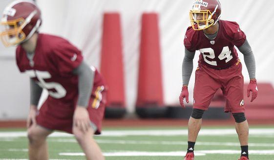Washington Redskins defensive back Marrio Norman gets set during NFL football rookie minicamp, Saturday, May 13, 2017, in Ashburn, Va. (AP Photo/Nick Wass)
