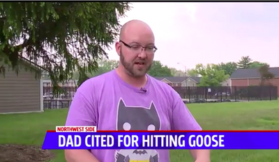 James McDaniel, an Indiana father, is shown here in a screen capture from a WXIN-TV report. He was ticketed by local authorities for using a plastic bat to defend his son from a wild goose.