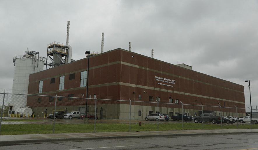 This Friday, May 5, 2017 photo, shows the The Great Lakes Water Authority NEFCO Biosolids Dryer Facility in Detroit. The $143 million facility that converts human waste into fertilizer has exceeded its permitted emission levels of toxins, adding harmful pollutants to an area that already has the dirtiest air in metro Detroit, according to data reviewed by the Detroit Free Press. (Ryan Garza/Detroit Free Press via AP)