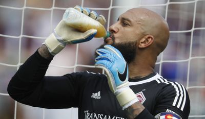Colorado Rapids goalkeeper Tim Howard drinks before facing the San Jose Earthquakes in an MLS soccer match Saturday, May 13, 2017, in Commerce City, Colo. (AP Photo/David Zalubowski)