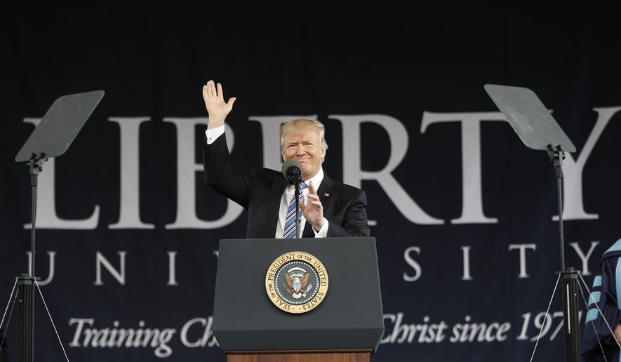 """In this file photo, President Donald Trump gives the commencement address for the Class of 2017 at Liberty University in Lynchburg, Va., Saturday, May 13, 2017. In testimony to Congress on Feb. 27, 2019, Mr. Trump's former attorney and """"fixer"""" Michael Cohen said that the president directed him during the 2016 campaign to threaten legal action against the College Board should it release Mr. Trump's SAT scores. (AP Photo/Pablo Martinez Monsivais) **FILE**"""