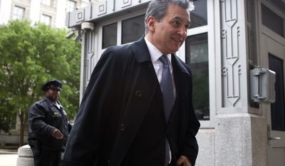 Former U.S. Attorney Michael Garcia arrives to the U.S. Department of Justice on Saturday, May 13, 2017. Garcia is one of nearly a dozen candidates President Donald Trump is considering to succeed ousted FBI Director James Comey. Garcia is expected to interview Saturday with Attorney General Jeff Sessions and his deputy, Rod Rosenstein. ( AP Photo/Jose Luis Magana)