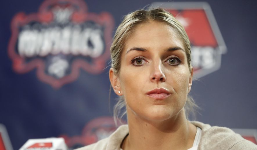 FILE - In this Feb. 10, 2017, file photo, Elena Delle Donne speaks during a news conference in Washington. Delle Donne was acquired by the Washington Mystics from the Chicago Sky earlier in the month. Delle Donne makes her debut with the Mystics on Sunday, May 14, against the San Antonio Stars. (AP Photo/Manuel Balce Ceneta) **FILE**