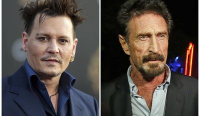"""In this combination photo, actor Johnny Depp, left, appears at the premiere of """"Alice Through the Looking Glass"""" on May 23, 2016, in Los Angeles. and anti-virus software founder John McAfee appears in the South Beach area of Miami Beach, Fla., on Dec 12, 2012 after being deported from Guatemala, where he had sought refuge to evade police questioning in the killing of a man in neighboring Belize. Depp is set to star in """"King of the Jungle,"""" a dark comedy about McAfee, the eccentric inventor of McAfee Antivirus software. Condé Nast Entertainment said Sunday, May 14, 2017, that the story is based on a Wired magazine article about the tech titan who left the business to live an isolated existence in the Belize jungle.  (AP Photo/Alan Diaz, right, and Richard Shotwell/Invision/AP, File)"""