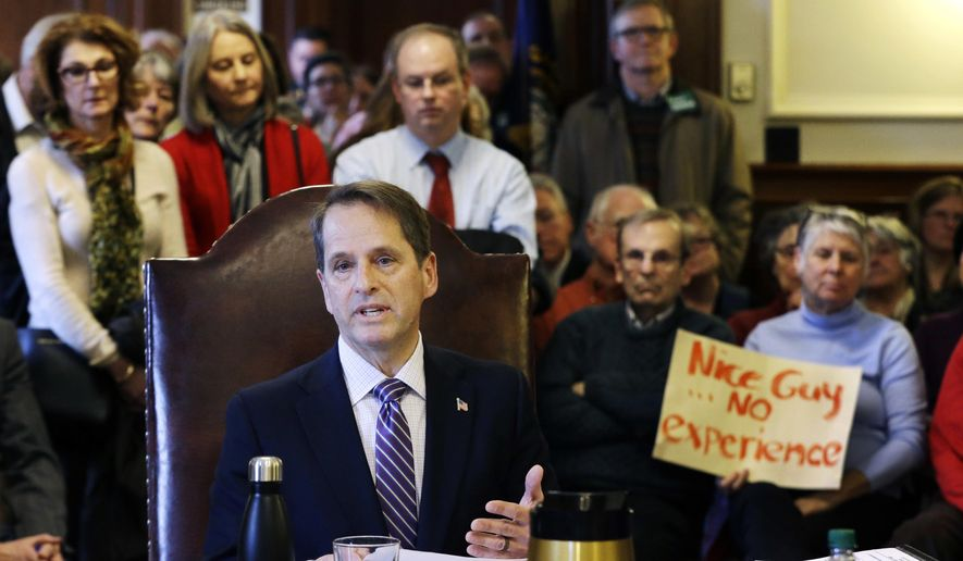 FILE - In this Jan. 31, 2017, file photo, Frank Edelblut speaks at the Statehouse in Concord, N.H., during a public hearing on his nomination to lead the state's education department. As first-term Gov. Chris Sununu builds out his cabinet of commissioners, he's tapped some appointees with little to no professional experience in the departments they're tasked with leading. For education, he tapped Edelblut, a businessman who homeschooled his children. (AP Photo/Elise Amendola, File)