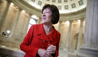 Susan Collins, R-Maine, finishes a television news interview on Capitol Hill in Washington in this March 28, 2017, file photo. (AP Photo/J. Scott Applewhite, File)