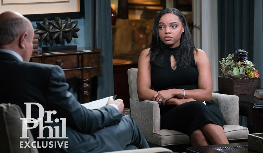 "This image released by CBS Television Distribution shows Shayanna Jenkins-Hernandez fiancee of former NFL player Aaron Hernandez during an interview on the ""Dr. Phil"" show. The two-part interview is scheduled to air on Monday and Tuesday. (CBS Television Distribution via AP)"