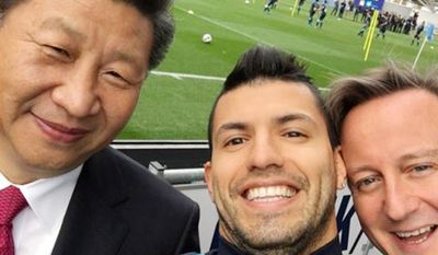 Bizarre selfie with Chinese president Xi, Manchester City striker Sergio Aguero and British Prime Minister David Cameron