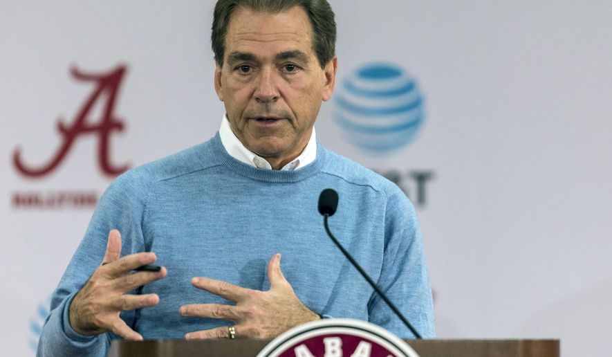 FILE - In this Jan. 13, 2017, file photo, Alabama NCAA college football coach Nick Saban speaks to the media in Tuscaloosa, Ala. Southeastern Conference coaches are eager to see the impact an early signing period will have on recruiting, even though a number of them were against the change. Saban had expressed his opposition to an early signing period in the past, and he noted Monday, May 15, 2017 that it could limit opportunities for prospects who take big steps forward in their development as seniors. (Vasha Hunt/AL.com via AP, File)