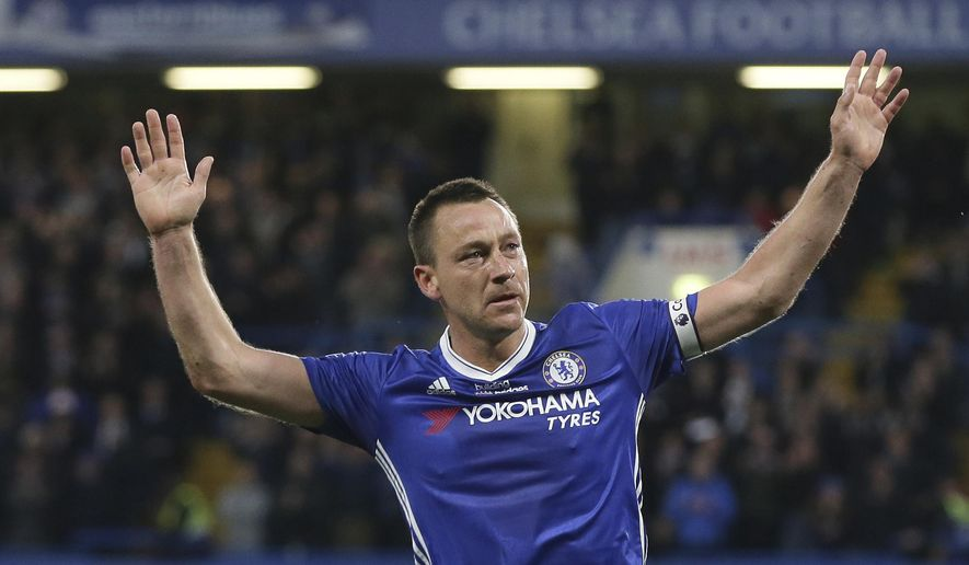 Chelsea's John Terry celebrates scoring a goal during the English Premier League soccer match between Chelsea and Watford at Stamford Bridge stadium in London, Monday, May 15, 2017. (AP Photo/Tim Ireland)