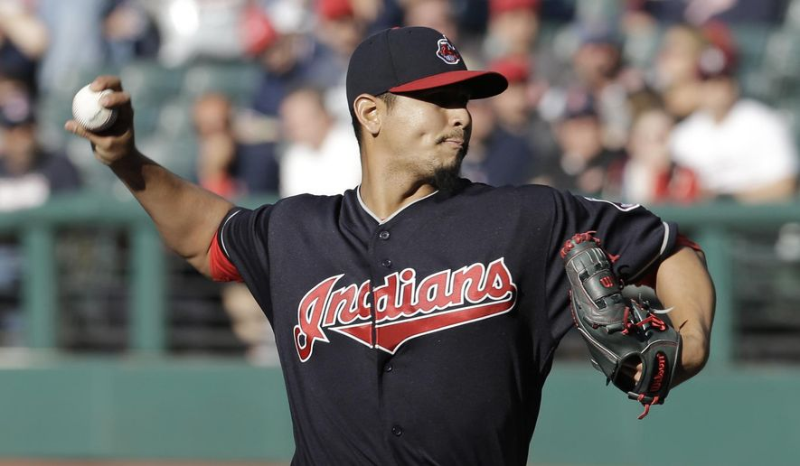 Cleveland Indians starting pitcher Carlos Carrasco delivers in the first inning of a baseball game against the Tampa Bay Rays, Monday, May 15, 2017, in Cleveland. (AP Photo/Tony Dejak)