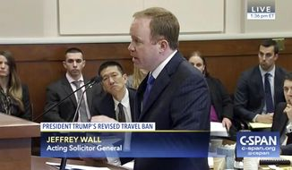 In this frame from C-SPAN video during the 9th Circuit Court of Appeals panel, Acting Solicitor General Jeffrey Wall speaks in Seattle, Monday, May 15, 2017. The 9th Circuit panel is hearing arguments over Hawaii's lawsuit challenging the travel ban, which would suspend the nation's refugee program and temporarily bar new visas for citizens of Iran, Libya, Somalia, Sudan, Syria and Yemen. The judges will decide whether to uphold a Hawaii judge's decision in March that blocked the ban. (C-SPAN via AP, Pool)