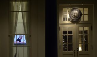 A television set is on in the West Wing of the White House in Washington, Monday, May 15, 2017. (AP Photo/Susan Walsh)