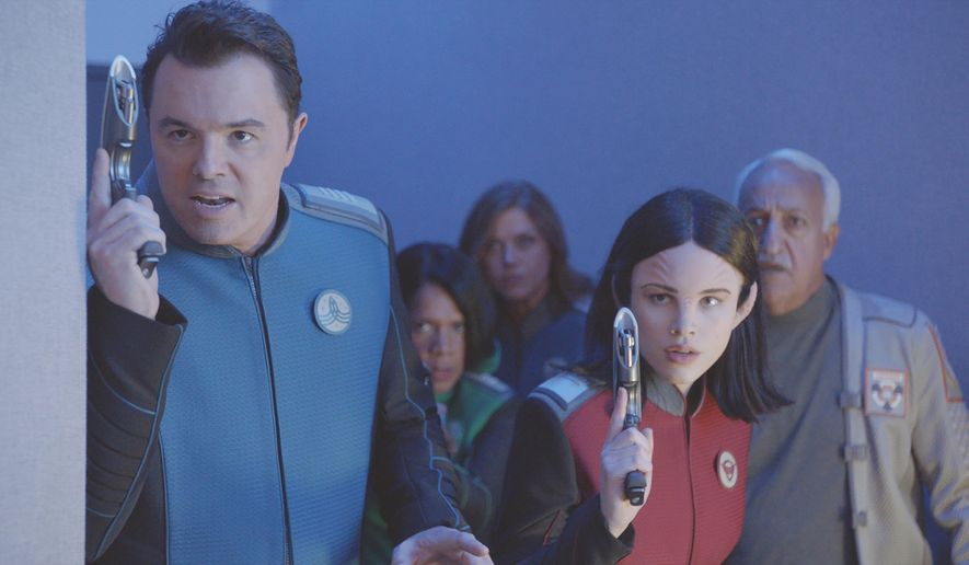"This image provided by Fox shows Seth MacFarlane, from left, Penny Johnson Jerald, Adrianne Palicki, Halston Sage and guest star Brian George in a scene from ""The Orville"". Fox said Monday, May 15, 2017, its schedule will include the new space adventure starring and produced by MacFarlane. The series is set 400 years ahead and follows the adventures of an exploratory spaceship. (Fox via AP)"