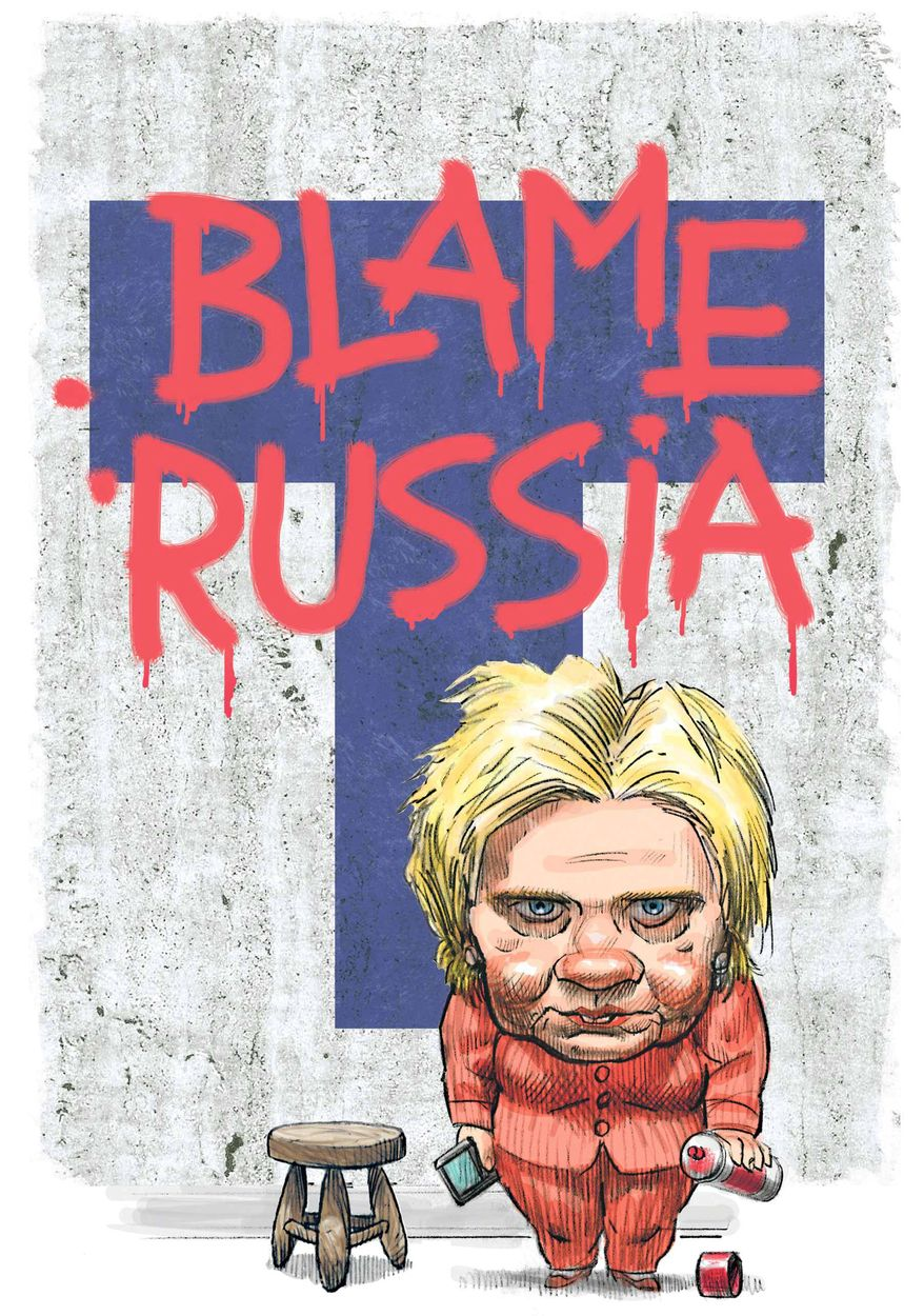 Illustration on Hillary Clinton's claim that Russian interference led to her defeat by Alexander Hunter/The Washington Times