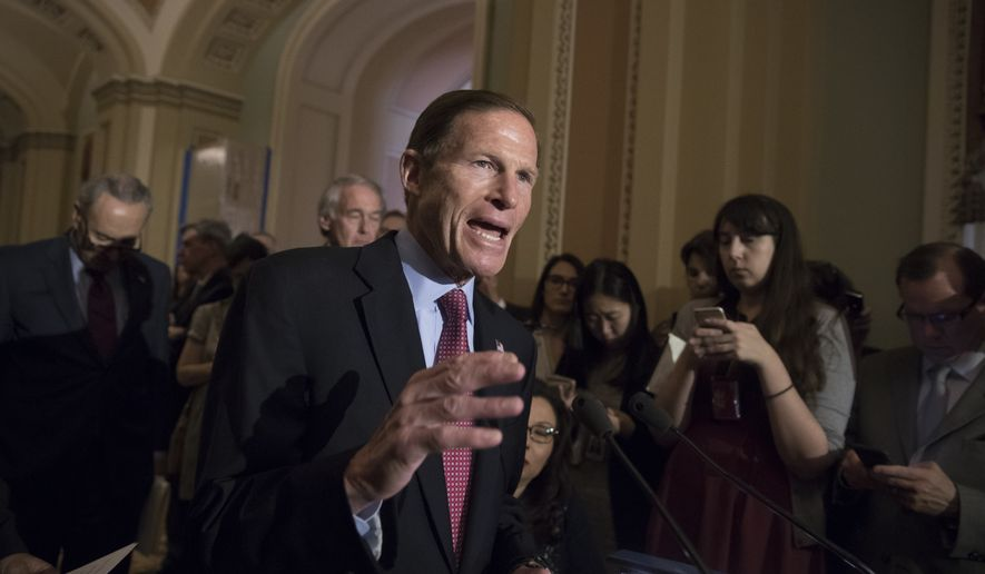Sen. Richard Blumenthal, D-Conn., and other Democrats respond to questions from reporters about President Donald Trump reportedly sharing classified information with two Russian diplomats during a meeting in the Oval Office, Tuesday, May 16, 2017, on Capitol Hill in Washington. (AP Photo/J. Scott Applewhite) ** FILE **