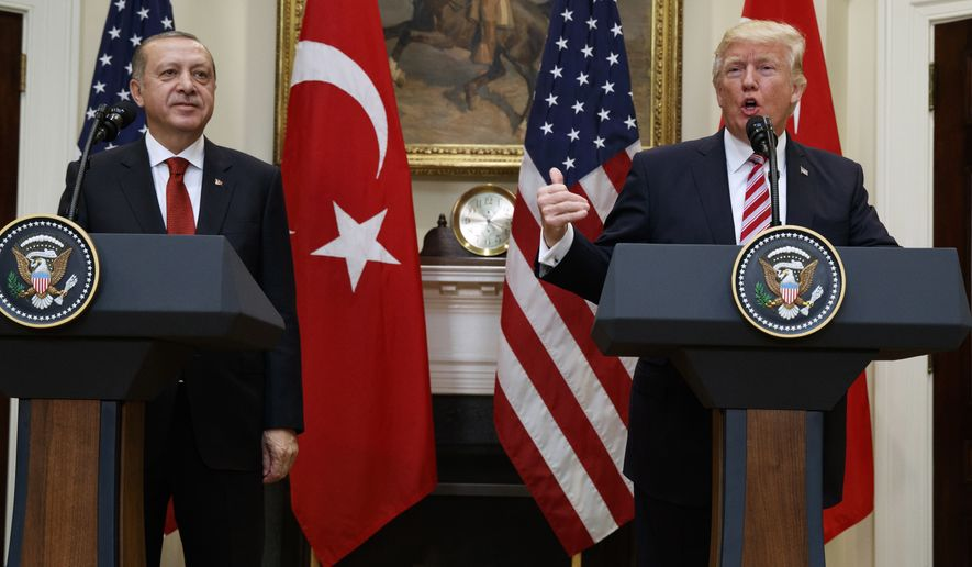 President Donald Trump, accompanied byTurkish President Recep Tayyip Erdogan, speaks in the Roosevelt Room of the White House in Washington Tuesday, May 16, 2017. (AP Photo/Evan Vucci)