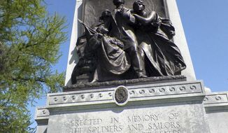 FILE - This Oct. 12, 2013 file photo shows a 32-foot granite monument honoring Confederate soldiers and sailors that has stood in St. Louis' Forest Park since 1914. St. Louis may soon join the growing list of cities removing monuments to the Confederacy. Mayor Lyda Krewson wants the monument removed as soon as possible, and is looking into engineering options to take it down, Eddie Roth, the city's director of human services, said Tuesday, May 16, 2017. (AP Photo/Jim Salter, File)
