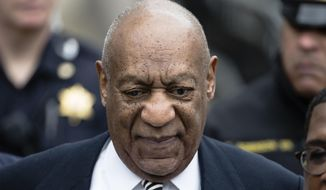 CORRECTS TO CLARIFY THAT SMERCONISH AGREED TO AIR EXCERPTS NOT THE FULL INTERVIEW - FILE - In this April 3, 2017, file photo, Bill Cosby departs after a pretrial hearing in his sexual assault case at the Montgomery County Courthouse in Norristown, Pa. Cosby says he doesn't expect to testify at his Pennsylvania sexual assault trial. spoke to Sirius radio host Michael Smerconish in an interview being broadcast Tuesday. Smerconish says he agreed to air excerpts of the 82-minute conversation between Cosby and his daughters in exchange for the interview. (AP Photo/Matt Rourke, File) Corrects to say