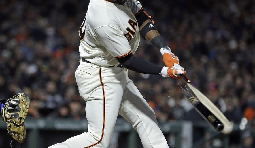 San Francisco Giants' Eduardo Nunez breaks his bat while hitting a two run single off Los Angeles Dodgers' Brandon McCarthy in the fourth inning of a baseball game, Monday, May 15, 2017, in San Francisco. (AP Photo/Ben Margot)
