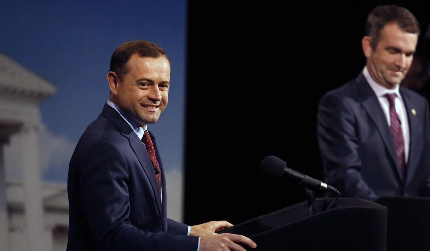 Former U.S. Rep. Tom Perriello acknowledges friends and supporters before a Democratic debate with Lt. Gov. Ralph Northam, Tuesday, May 16, 2017 at WHRO-TV in Norfolk, Va. (Stephen M. Katz/The Virginian-Pilot via AP)