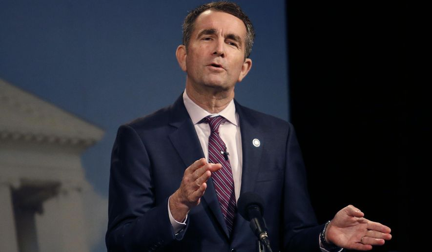 Lt. Gov. Ralph Northam responds to a moderator during the Democratic debate with former U.S. Rep. Tom Perriello on Tuesday. (Associated Press)